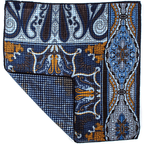Asymmetrical Reversible Wool Pocket Square