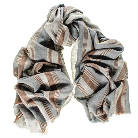Oxford Stripe Merino Wool and Silk Scarf