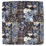 Lesina Blue on Brown Patchwork Wool Pocket Square