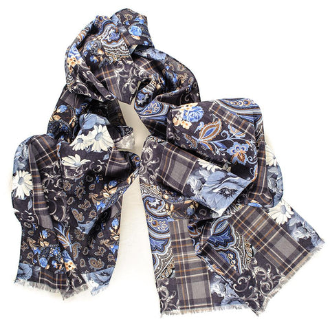 Lesina Blue on Brown Patchwork Italian Wool Scarf