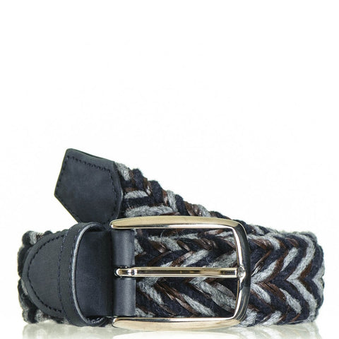 Navy Grey and Brown Woven Leather and Wool Belt