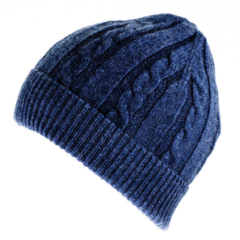 Denim Blue Cable Knit Cashmere Beanie