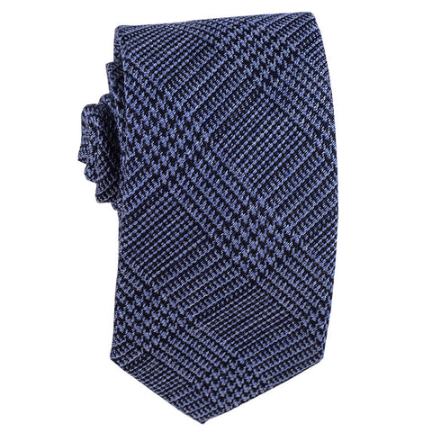 Two Tone Blue Check Silk and Wool Tie