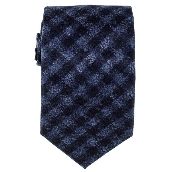 Two Tone Blue Check Wool Tie