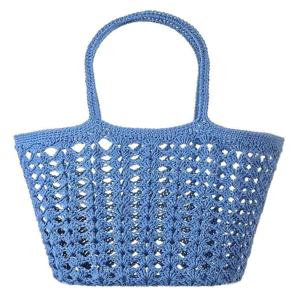 Blue Cotton Crochet Tote Bag