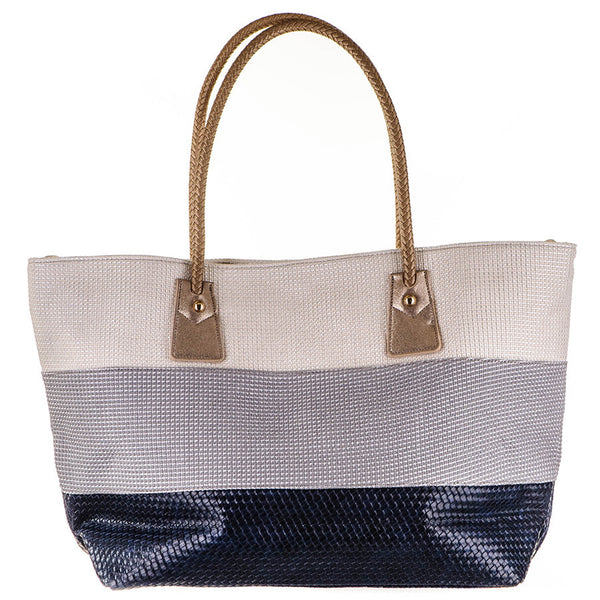 Colour Block Poly Cotton Beach Bag
