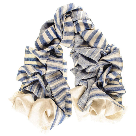 Oversize Denim Blue and Natural Ikat Cashmere Scarf