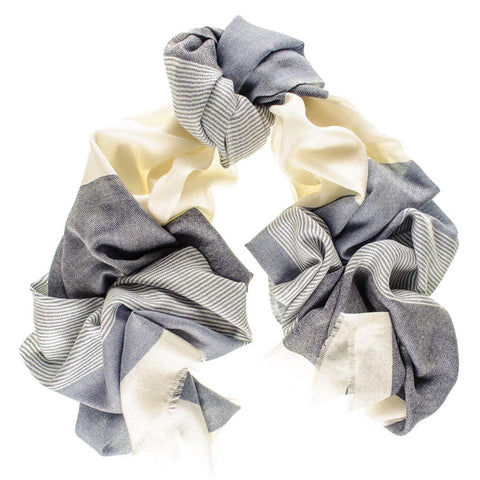 Chester Blue and Cream Merino Wool and Silk Scarf