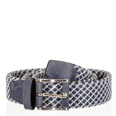 Blue and Grey Italian Nubuck Trimmed Woven Belt