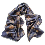 Navy and Green Check Silk Scarf