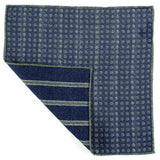 Blue and Green Reversible Wool Pocket Square