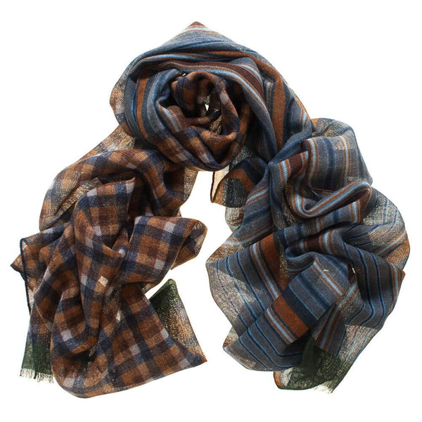 Molvina Check and Stripe Italian Wool Scarf