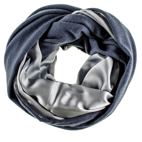 Double Size Airforce Blue Cashmere and Silver Satin Snood