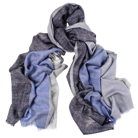 Blue and Grey Cashmere Shawl