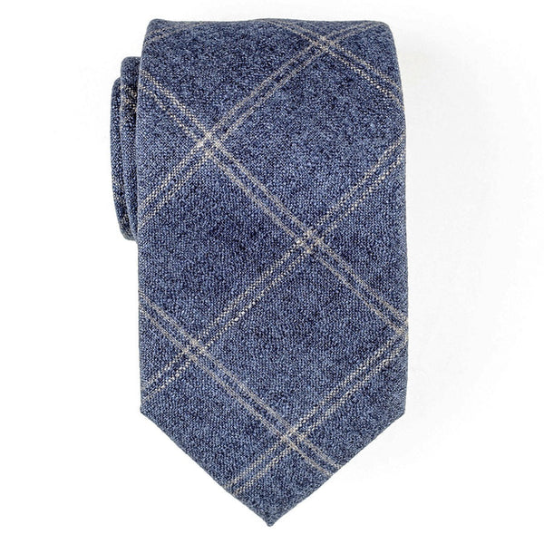 Blue and Grey Windowpane Cashmere and Silk Tie