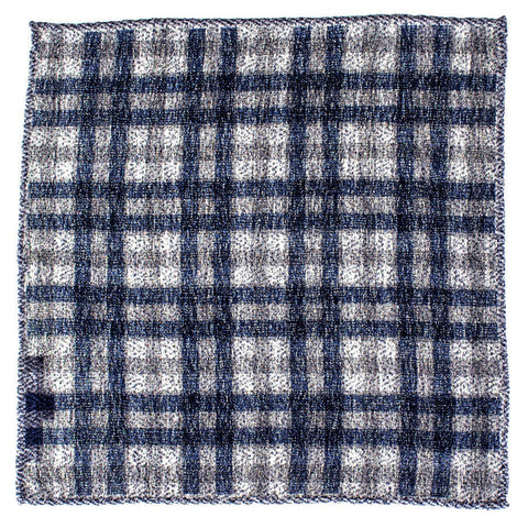 Navy and Grey Check Wool and Silk Pocket Square
