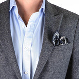 Navy and Grey Wool Pocket Square