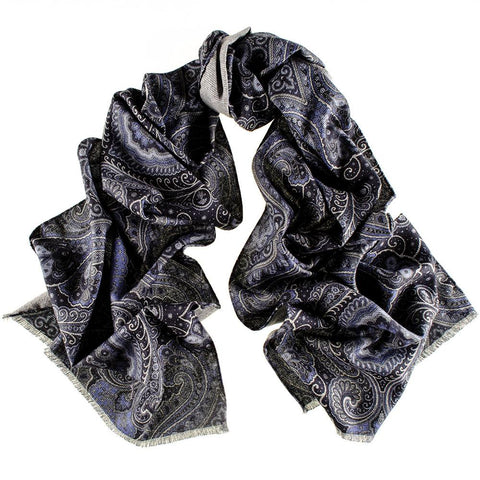 Cecita Navy and Blue  Italian Cotton Scarf