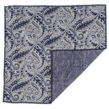 Blue Paisley Reversible Silk and Cotton Pocket Square