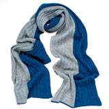 Blue and Grey Rib Knit Cashmere Scarf