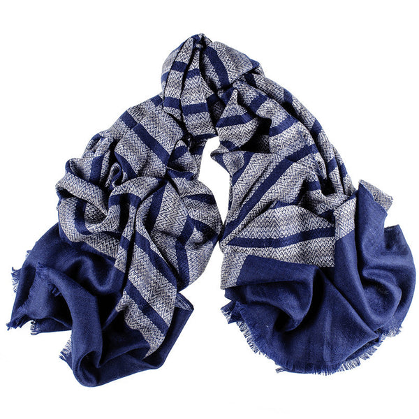 Navy Chevron Striped Cashmere Ring Shawl