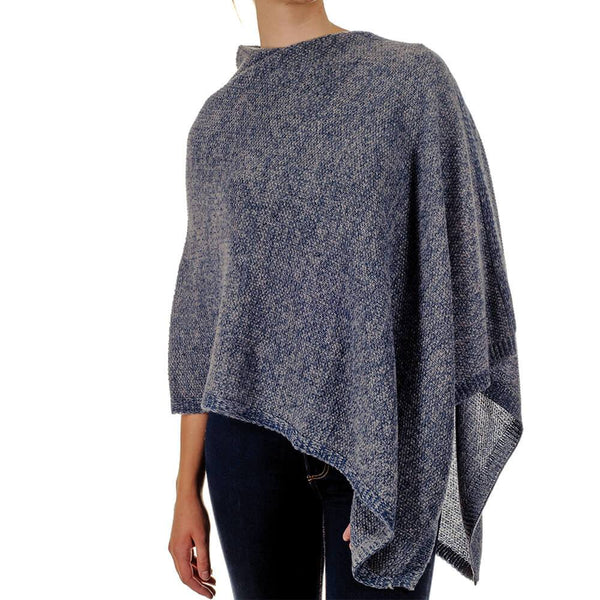 Moss Stitch Blue and Grey Cashmere Poncho