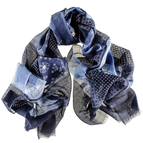 Blue Patchwork Wool Scarf