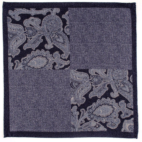 Liscia Blue and Grey Cotton Italian Pocket Square