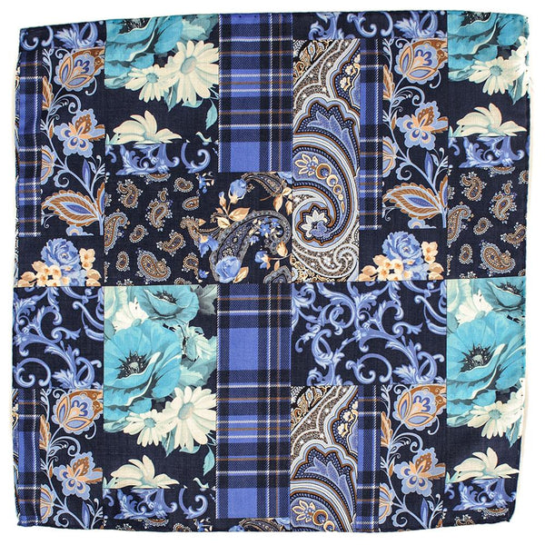 Lesina Blue on Blue Patchwork Wool Pocket Square