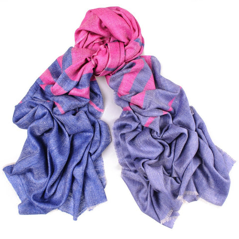 Pink and Blue Cashmere Shawl