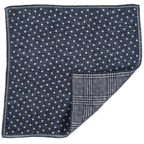 Navy and Ivory Double Faced Linen and Cotton Pocket Square