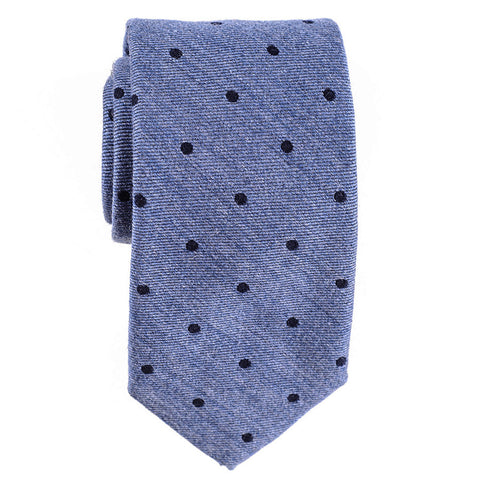 Cetona Blue Polka Dot Silk and Wool Tie