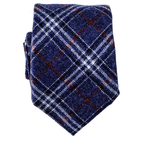 Navy and Red Check Italian Wool Tie