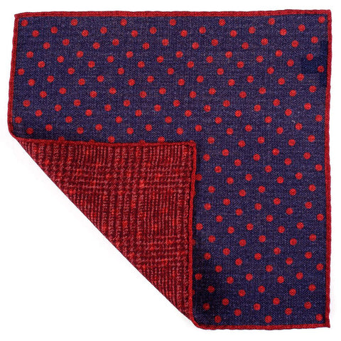 Claret and Navy Reversible Wool Pocket Square