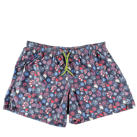 Navy and Red Retro Print Italian Mid-Length Swim Shorts