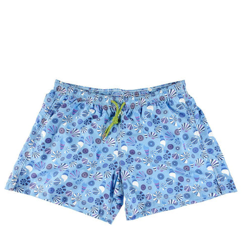 Blue Retro Print Italian Mid-Length Swim Shorts