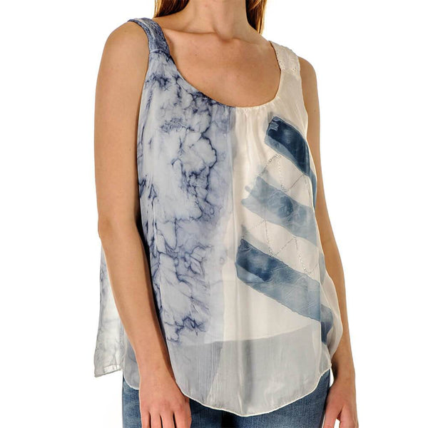 Elisa - Blue Silk Sleeveless Top