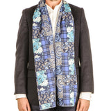 Lesina Blue on Blue Patchwork Italian Wool Scarf