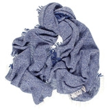 French Blue and Ivory Large Fringed Cashmere Scarf