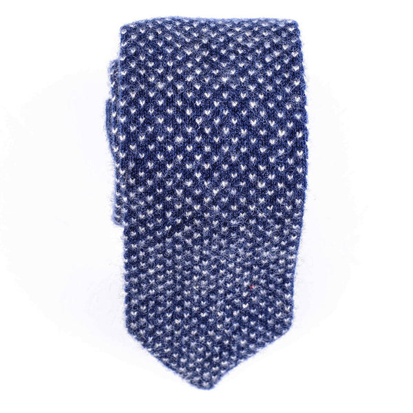 Blue and Cream Knitted Cashmere Tie