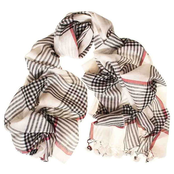 Black and Ivory Check Cotton Scarf