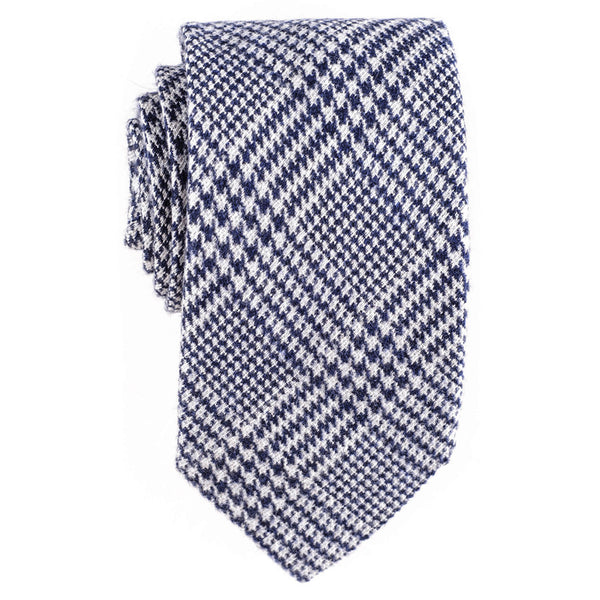 Navy and White Check Silk and Wool Tie