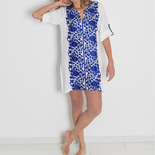 Agadir Hand Embroidered Linen Cover Up