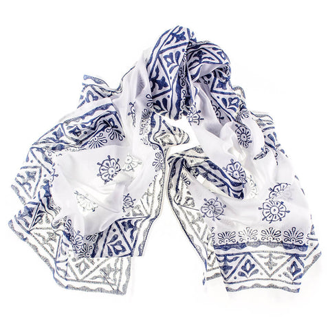 Navy and White Hand Printed Cotton Scarf