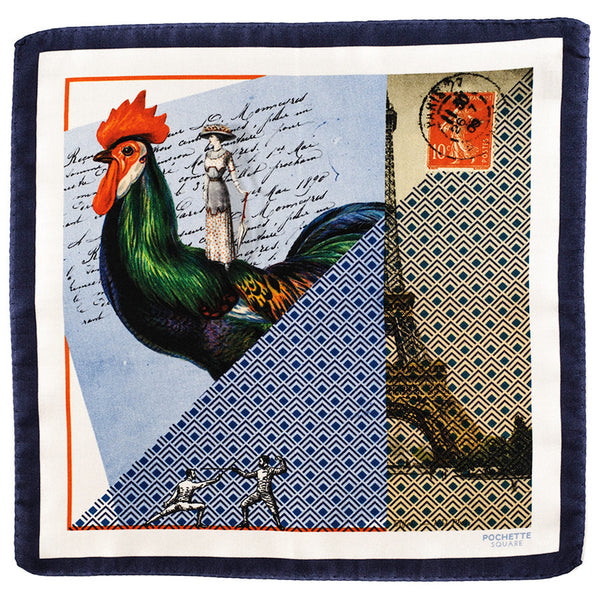 'Parisian Romance' Italian Silk Pocket Square