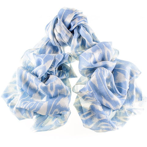 Celeste Blue Silk and Wool Scarf