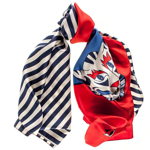 Red, White and Blue Tiger Print Silk Scarf