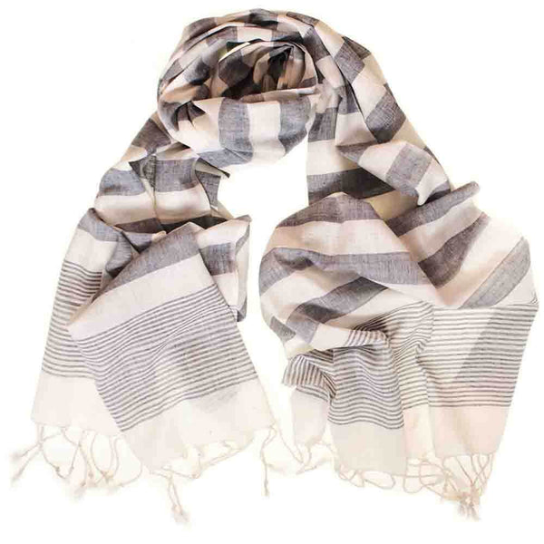 Light Denim and White Striped Cotton Scarf