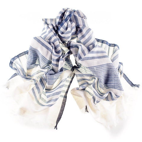 Air Force Blue and White Hand Woven Cotton Scarf