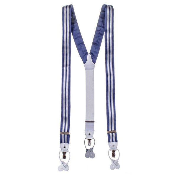 Regimental Striped Silk and Leather Braces